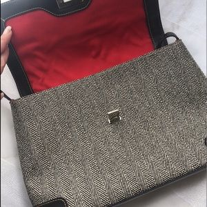 darling espresso herringbone purse w/ red lining